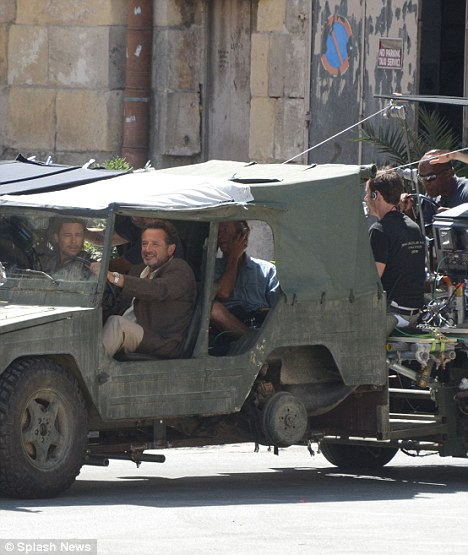 Action: The film crew caught all the action as Brad rode around the streets of Birgu, Malta