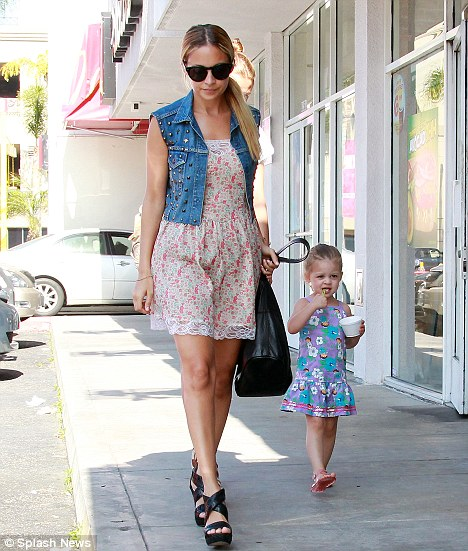 Sweet treat: Nicole Richie took her three-year-old daughter Harlow for ice cream in West Hollywood yesterday