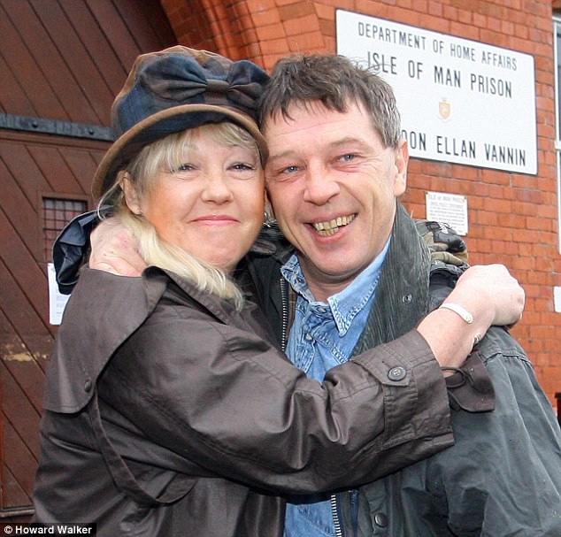 Supportive: Andy with his sister Liz after leaving prison in Douglas, Isle of Man in 2008