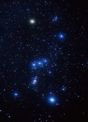 Standing out: The bright, pinkish-white star at upper left of Orion, known as the 'hunter', is Betelgeuse