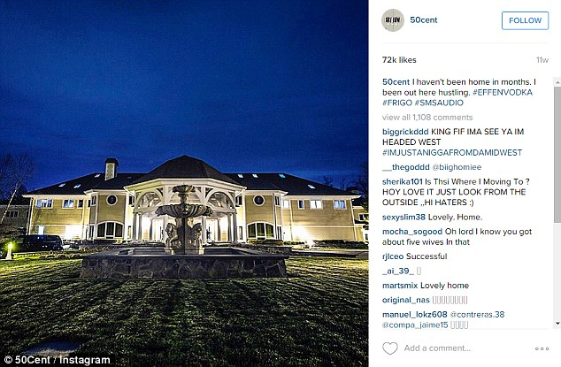 Hustling: Jackson uploaded a photo of his Connecticut mansion to Instagram with the caption 'I haven't been home in months. I been out here hustling'