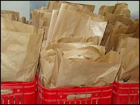 Bags of items discovered in the mass graves
