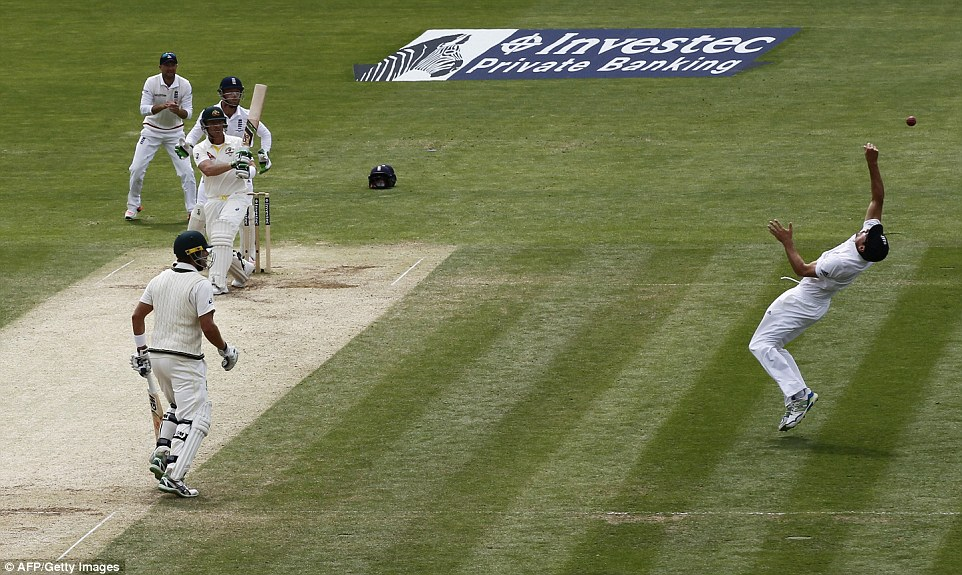 Cook reacted superbly to parry the ball up into the air before catching at the second attempt to send Haddin back to the pavilion