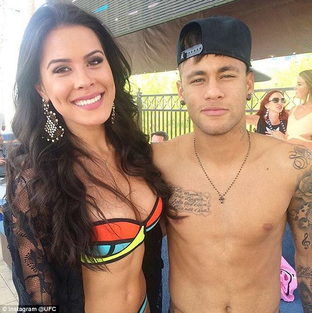 Brazil star attended the Sin City pool party in Las Vegas and is pictured with one of the UFC Octagon girls