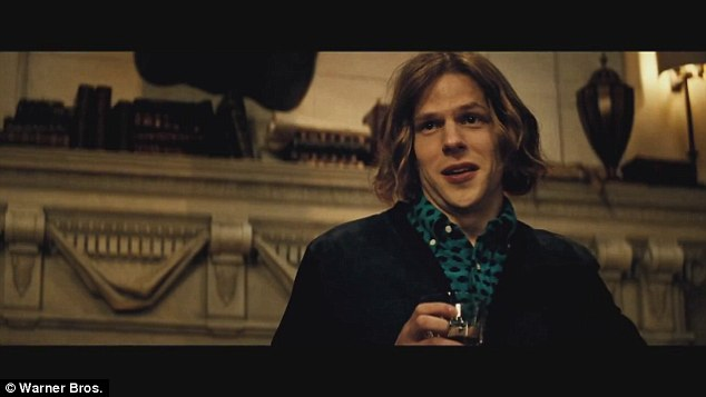 Villain: Jesse Eisenberg's Lex Luthor appears in the trailer with convincing 'bad guy' cynicism: 'Black and blue. God versus man. Day versus night.'