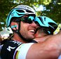 FOUGERES, FRANCE - JULY 10:  (L-R) Stage winner Mark Cavendish of Great Britain and Etixx-Quick Step is congrtulated by teammate Mark Renshaw of Australia and Etixx-Quick Step following stage seven of the 2015 Tour de France, a 190.5km stage between Livarot and Fougeres on July 10, 2015 in Fougeres, France.  (Photo by Bryn Lennon/Getty Images)