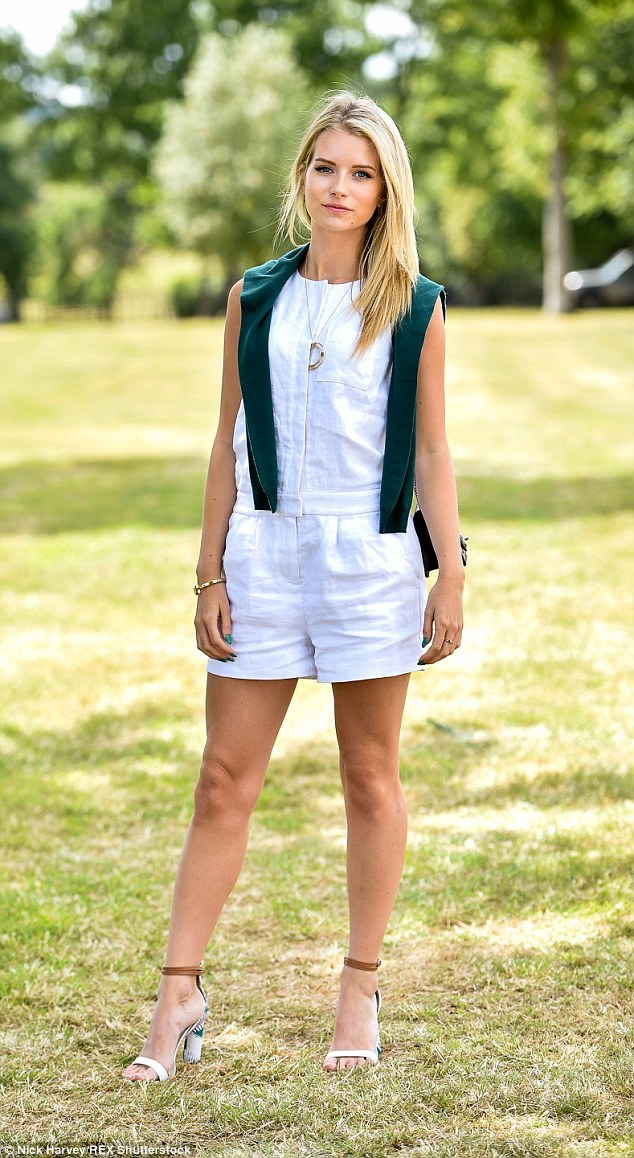Model behaviour: Lottie Moss was one of the glamorous guests who descended on the The Tiffany and Co Royal Charity Polo Cup on Saturday