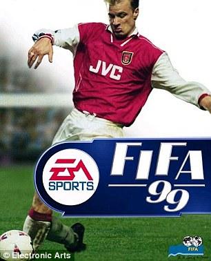 Arsenal legend Dennis Bergkamp cuts a prominent figure on FIFA 99