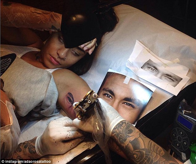 Neymar's sister Rafaella has had a tattoo of his eyes inked on her left arm in homage to her brother