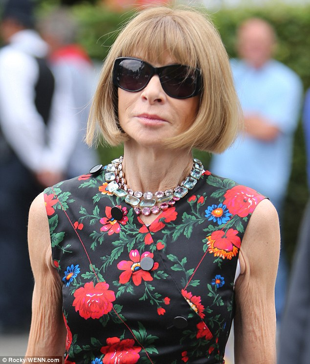 Powerful lady: Also upping the style stakes at Wimbledon on Saturday was the first lady of fashion and editor-in-chief of American Vogue - Anna Wintour