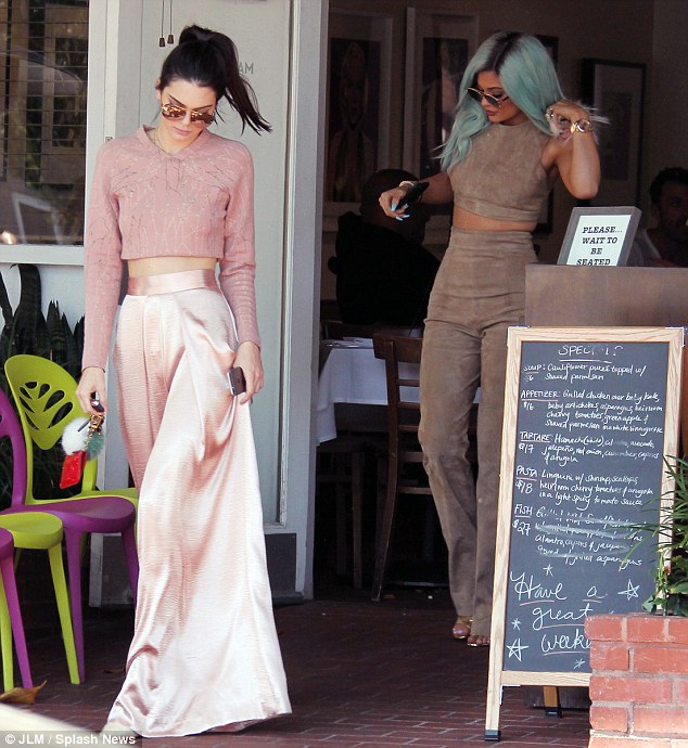 Siblings: The blue haired reality star was enjoying lunch with her sister Kendall