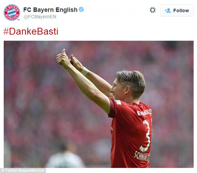 Bayern then tweeted out this tribute to Schweinsteiger shortly after the news was confirmed