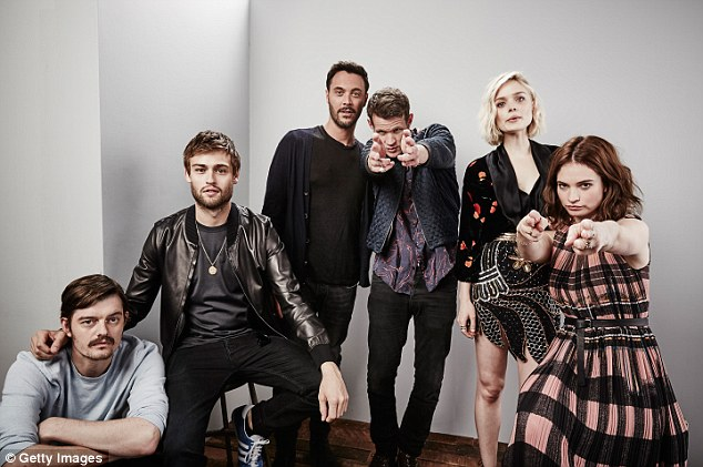 All together: Actors (left to right) Sam Riley, Douglas Booth, Jack Huston, Matt, Bella Heathcote and Lily pose for a portrait ahead of their new zombie thriller