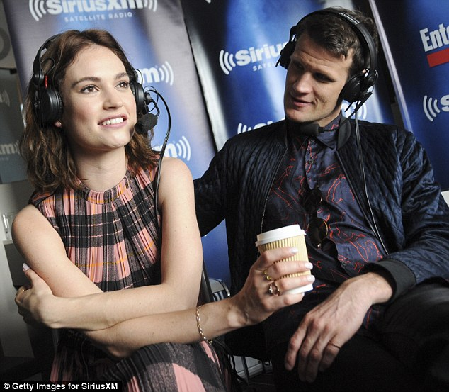 Adorable:Matt Smith and Lily James looked like they were still thoroughly enjoying a honeymoon period as they giggled their way through an interview on Saturday