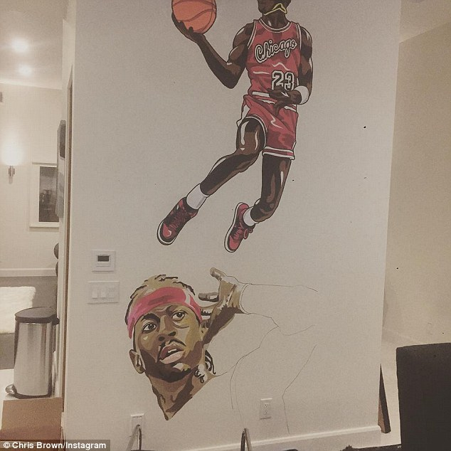 Like Mike: Another decorative mural shows an homage to basketball legends Michael Jordan and Allen 'The Answer' Iverson