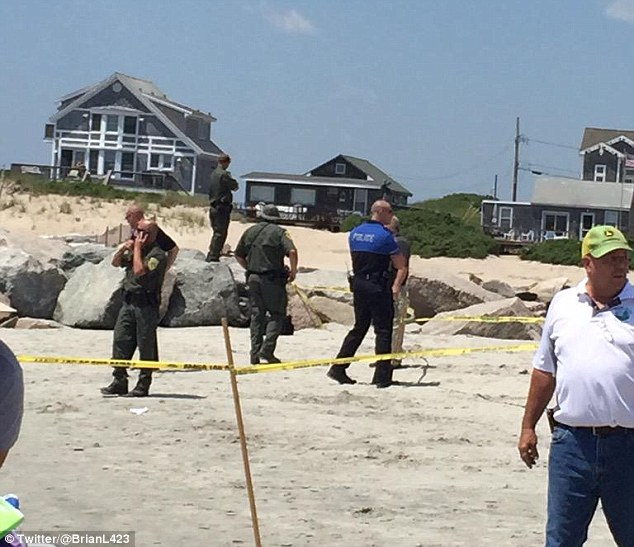 The explosion threw a 50-year-old woman several feet into the air  and on to the rocks of the jetty, officials said. She is being treated at South County Hospital but her condition remains unknown