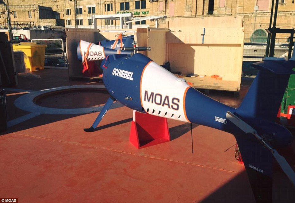 State-of-the-art: This photo shows one of MOAS's two helicopter drones, which locate sinking boats and cost around $1million each