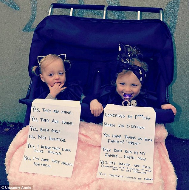 26-year-old mum Annie Nolan came up with a cheeky way to pre-empt the questions that she is asked on a daily basis about her twin daughters Cheska and Delphine