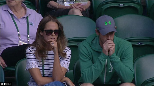 Jamie's brother Andy Murray (right) and wife Kim Sears (left) watched the match from the stands