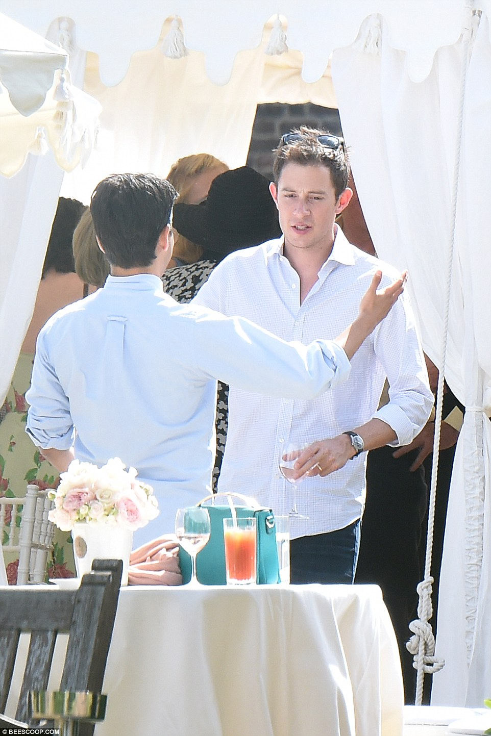 Thanks for coming: Newlywed James Rothschild has a casual look as he works the party, no doubt thanking friends and family for coming along