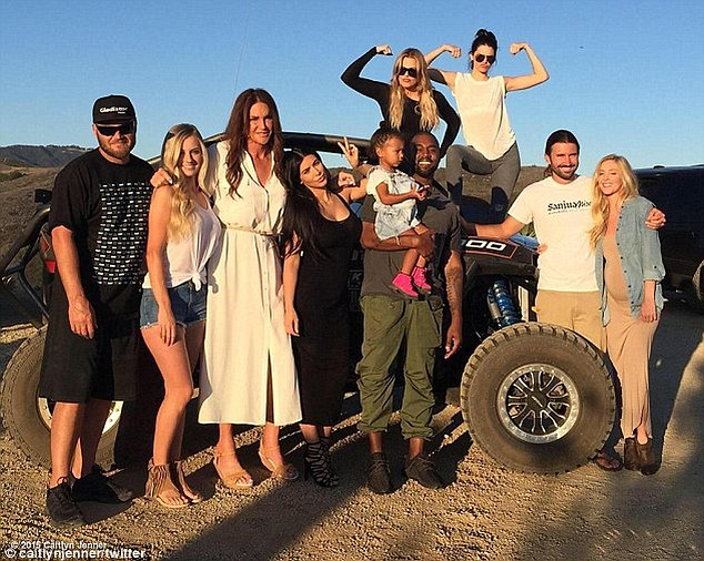 New life: Beck declared he would not want to be Miss Jenner (pictured, third left, with relatives including Kim Kardashian, fourth left, on Father's Day last month) because 'people are going to say nasty things about him because he's a dude'. He also refused to call the star a woman - and repeatedly referred to her as 'Bruce'