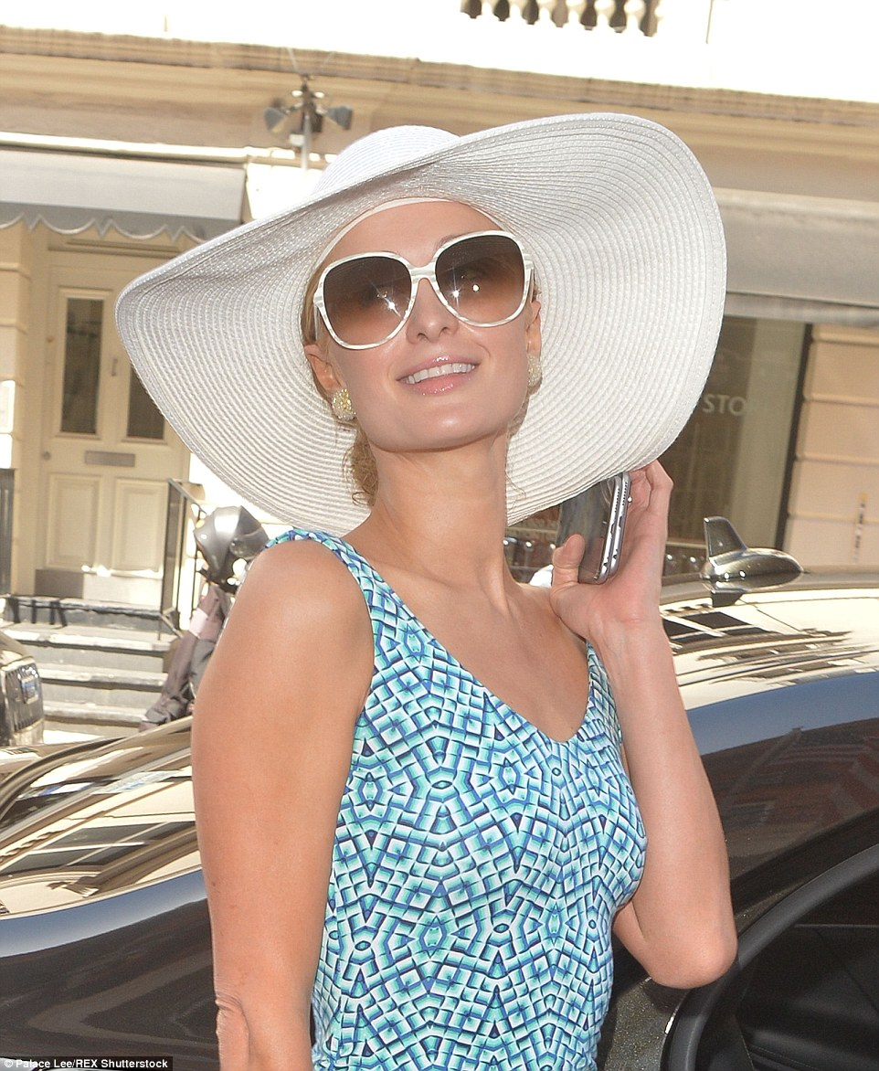 Number one bridesmaid: Paris Hilton arrived at Claridge's in Mayfair well ahead of sister Nicky's wedding this evening