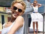 PORTOFINO, ITALY - JULY 13:  Kylie Minogue is seen on Dolce Gabbana boat on July 13, 2015 in Portofino, .  (Photo by Photopix/GC Images)