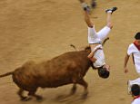 A reveler is pushed by a cow during a cow's show in the bull ring at the San Fermin Festival in Pamplona, Spain, Tuesday, July 14, 2015. Revelers from around the world arrive to Pamplona every year to take part in some of the eight days of the running of the bulls. Today, on the midnight, people will sing the song ''Pobre de Mi'' to say goodbye to San Fermin Fiestas. (AP Photo/Alvaro Barrientos)
