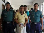 Bangladeshi police escort a man linked to the beating death of a 13-year-old boy in Sylhet on July 13, 2015. Bangladesh police were hunting a group of attackers July 13 who lashed a 13-year-old boy to a stake and then beat him to death, filming the onslaught on a smart phone.  The 28-minute video, in which the boy is seen begging for water as he lay dying in the northeastern city of Sylhet, has sparked huge protests in Bangladesh since it went viral on social media over the weekend.  AFP PHOTO        (Photo credit should read STR/AFP/Getty Images)