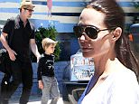 140021, EXCLUSIVE: Super couple Brad Pitt and Angelina Jolie take their brood of children ice skating to celebrate twins Vivienne and Knox's 7th birthday at Ice land in Van Nuys, CA. Pax showed off his unique style in a fake beard, birthday girl Vivienne wore an animal hat while her brother opted for a rock t-shirt showing off his burgeoning love for Metallica! Los Angeles, California - Sunday July 12, 2015.  Photograph: © PacificCoastNews.com, Fame/Flynet **FEE MUST BE AGREED PRIOR TO USAGE** **E-TABLET/IPAD & MOBILE PHONE APP PUBLISHING REQUIRES ADDITIONAL FEES** LOS ANGELES OFFICE: +1 310 822 0419 LONDON OFFICE: +44 20 8090 4079