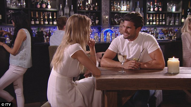 Date night: Lauren later meets her new love interest Dan for a drink and looks to be relaxing after the row