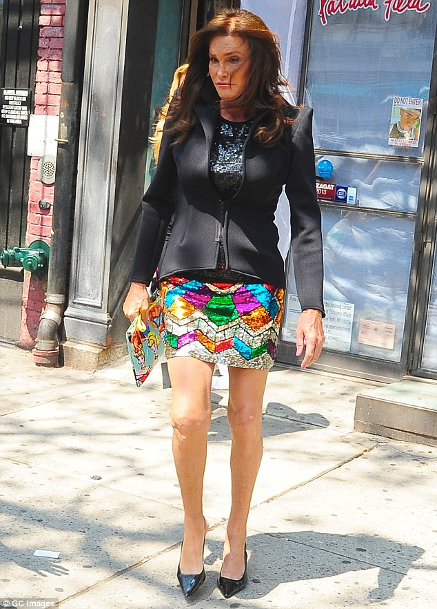 Volunteer: Caitlyn Jenner, seen leaving a store in New York at the end of June, visited the TransLatina Coalition in Brooklyn where the reality star handed out condoms as part of HIV prevention awareness