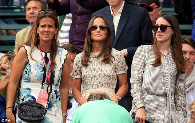 Pippa Middleton, 31 (middle), attended the Men's singles final with a group of friends in a cream Tory Burch dress