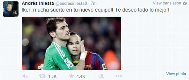 Barcelona and Spain star Andres Iniesta posted a picture of the duo as he paid tribute to his team-mate