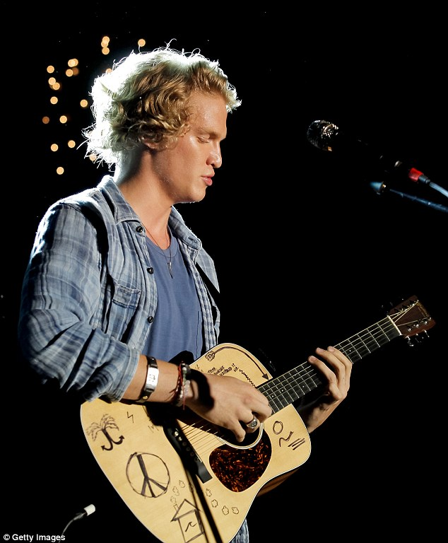 Playing a tune: Cody Simpson performed tracks from his new album Free at a club in Hollywood on Friday