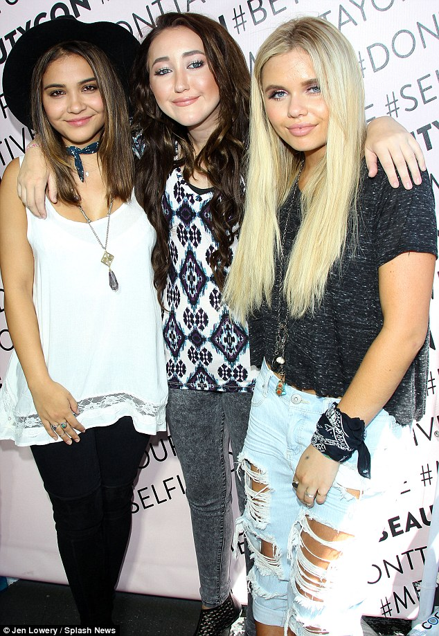 Famous by association: Celebrity siblings Stella Hudgens, Noah Cyrus and Alli Simpson showed up together