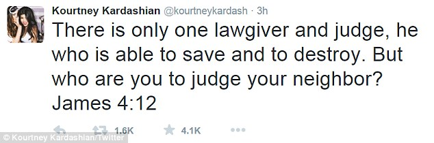 Getting spiritual: Kourtney Kardashian tweeted a mysterious Bible passage that appeared to hint at her state-of-mind on Saturday