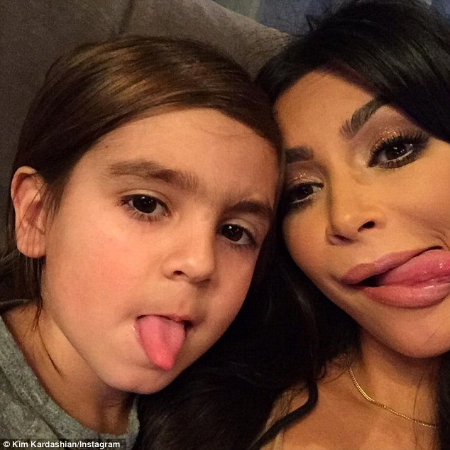 Supportive aunt: The five-year-old tyke is likely missing his hard-partying father Scott Disick, who just split with Mason's mother Kourtney Kardashian
