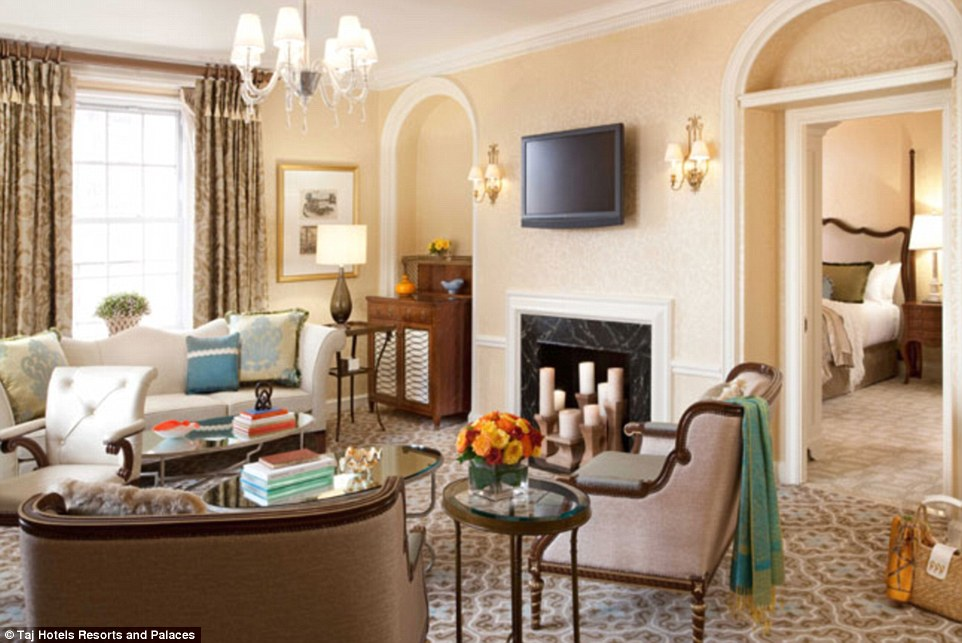 Palatial: This is one of the living rooms in NYC's most expensive rental in the Pierre Hotel which is on the market for $500,000 a month