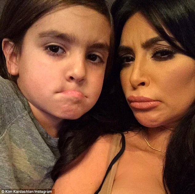 Pulling faces together: Saturday night, Kardashian shared a series of silly selfies with her nephew Mason with her combined 97.1M followers on social media