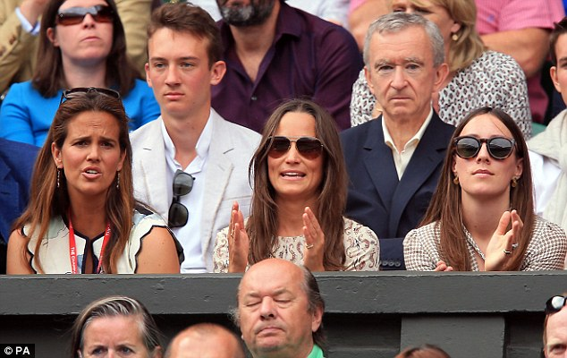 Here again: The 31-year-old clapped and cheered as she watched the Wimbledon men's final today