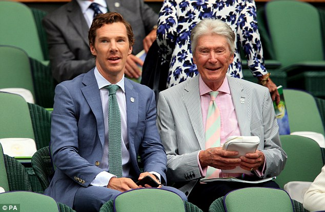 Watching with dad: Benedict left wife Sophie Hunter and their new baby at home, taking father Timothy along to the All England Club instead