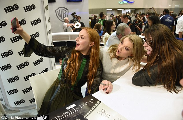 Surprise surprise: Sophie and Natalie appeared to be having a ball as they signed autographs and took selfies with fans