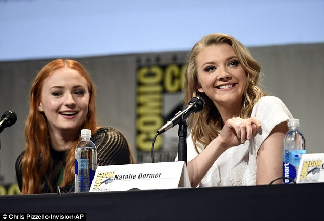 Fun times: And she appears to have struck up a close relationship with Natalie Dormer in particular