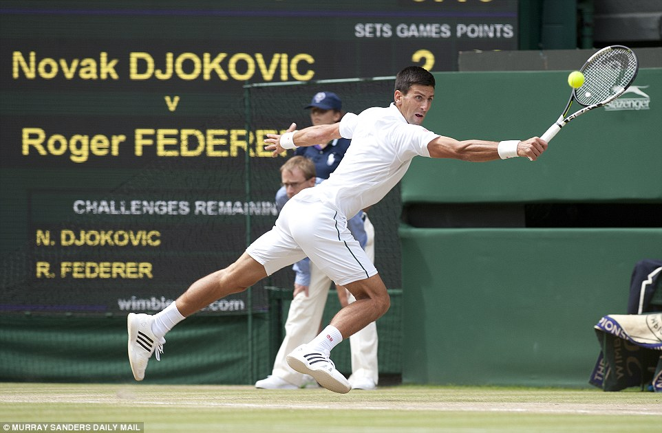 Djokovic stretches every sinew in his body to return a Federer thunderbolt as the quality of the second set continued to amaze the crowd