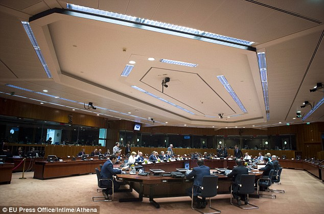 Where the deal went down: Eurozone leaders were thrashing out a Greek bailout deal throughout the night