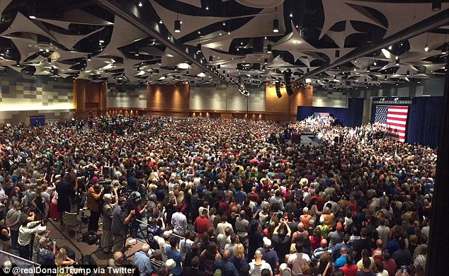 Crowd: The candidate posted an image of supporters who turned out to see him at a similar speech that day in Arizona