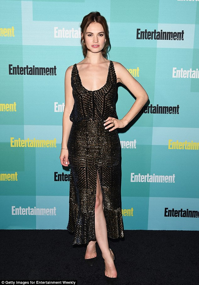 All that glitters... Lily James looked incredible at Entertainment Weekly's Annual Comic-Con party at the Hard Rock hotel in San Diego, California on Saturday