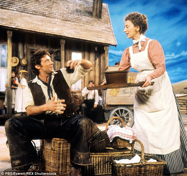 Tuneful! Hugh with Maureen Lipman inOklahoma! in 1999, just one of many musicals he has appeared in