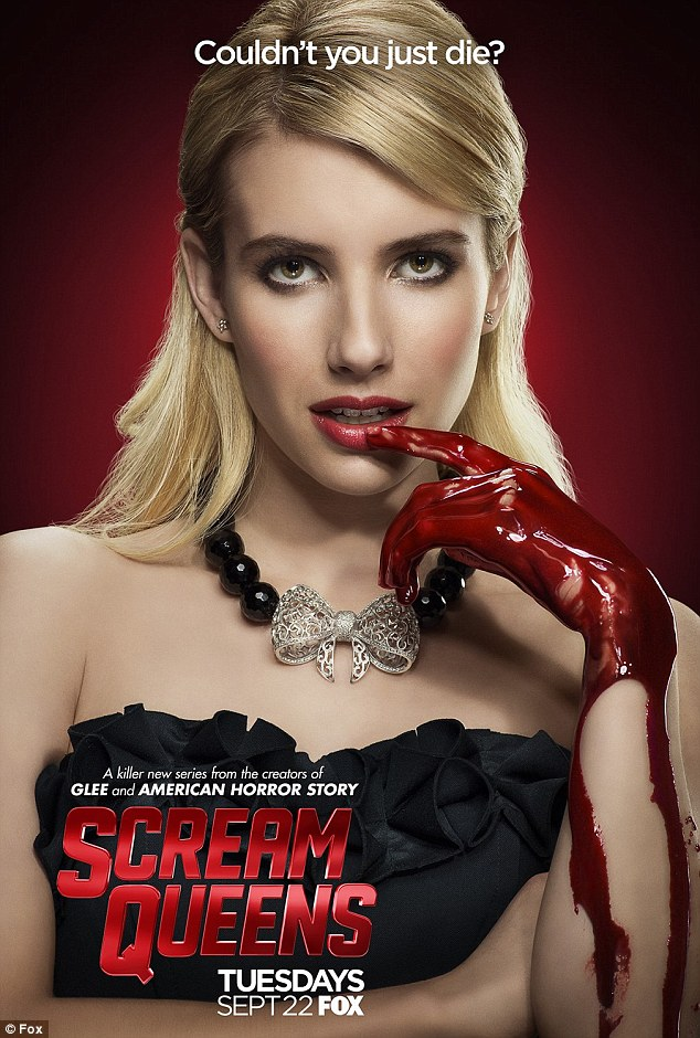 Bloody: New posters for the TV series were unveiled on Saturday. Emma is seen putting a blood-covered finger to her lips as blood runs down her arm